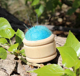 Blue Wood Puff Pin Cushion for sale at Raspberry Lane Crafts.  Small Pin Cushions