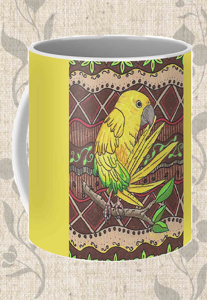 Buy Golden Conure Coffee Cup. Tropical Birds Coffee Mugs. Yellow Parrot Coffee Mug.  Buy Purchase Find at Raspberry Lane Crafts. The Art of Wendy Christine