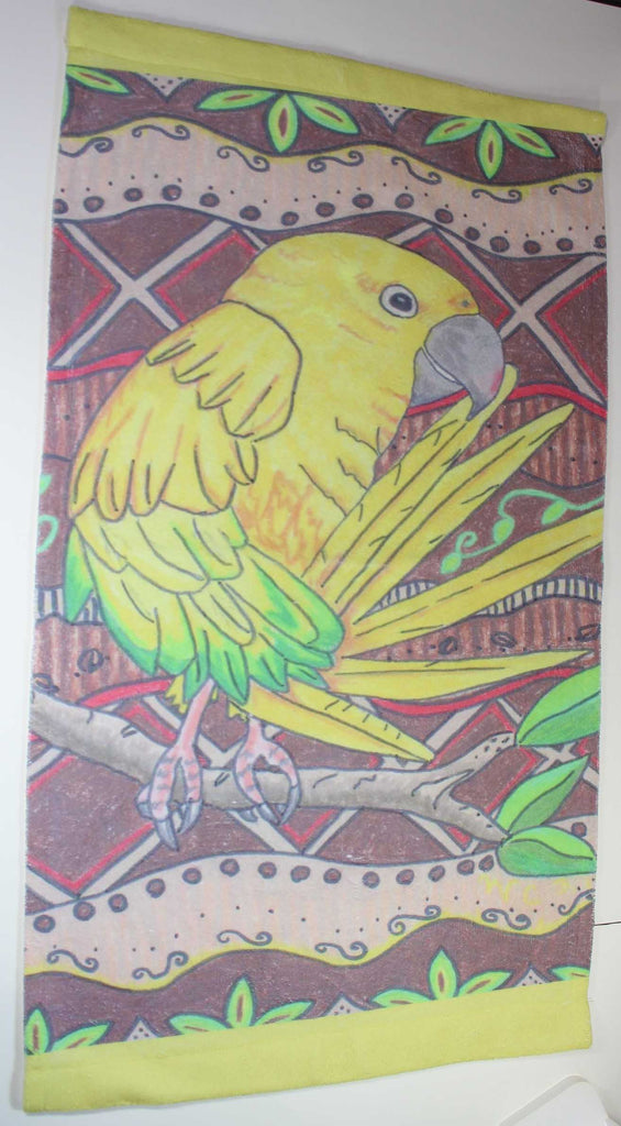 Golden Conure Yellow Parrot Hand Towel for Sale at Raspberry Lane Crafts