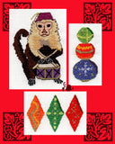 Gothic Ornaments cross stitch pattern cover pictures a capuchin monkey with drum and purple fix, decorated diamonds and a stack of colorful decorated balls in gold.  Raspberry Lane Crafts.