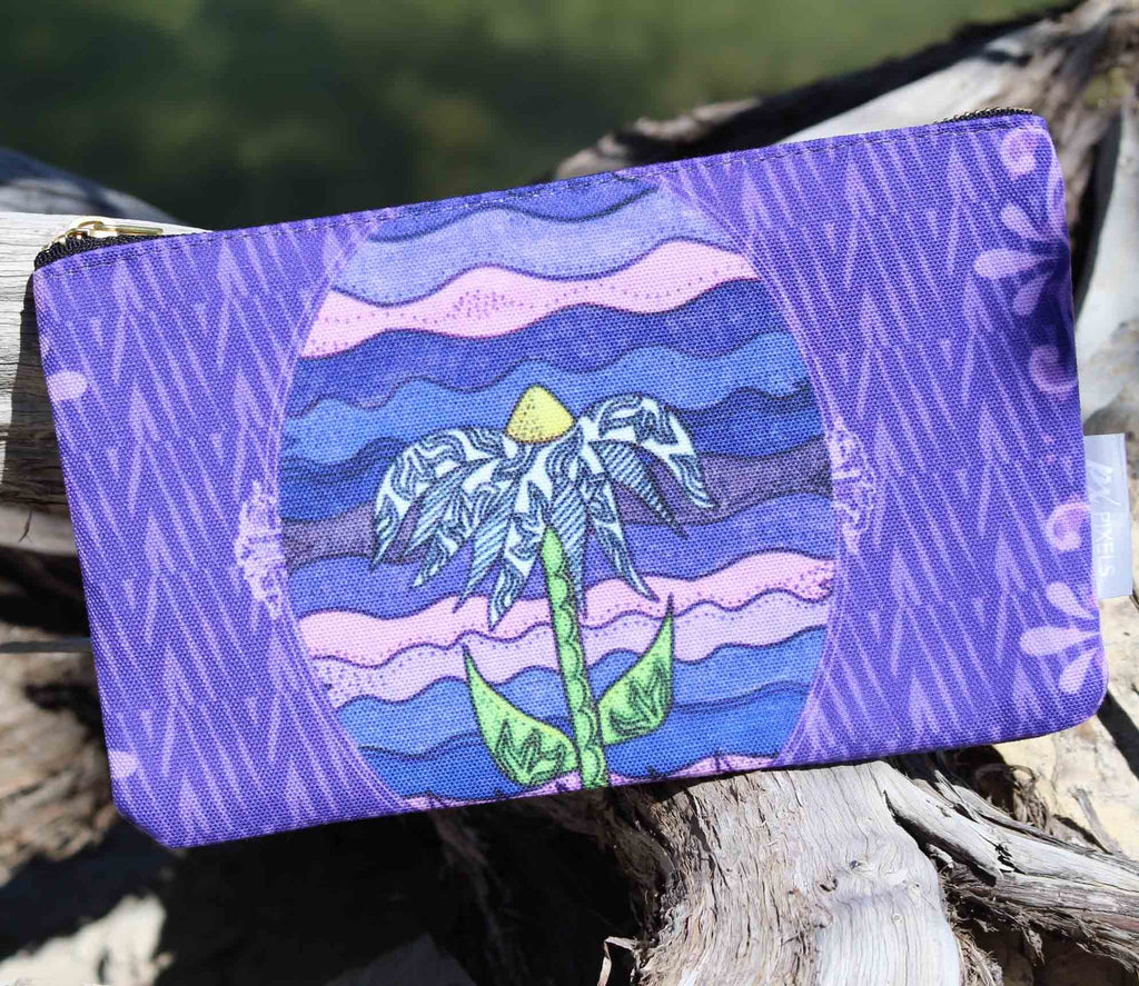 Grapesugar Antique Carry-All Bag Purple Flower Cosmetics Bag to Purchase Buy at Raspberry Lane Crafts. The Art of Wendy Christine