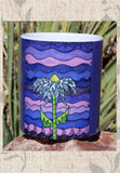 Great Dark Purple Coffee Mug with Flower to Buy Purchase Find at Raspberry Lane Crafts.  Grapesugar Coffee and Tea Mug by Wendy Christine.