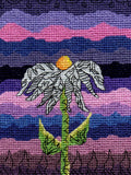Purple counted cross stitch pattern with flower for sale.  Find purchase at Raspberry Lane Crafts.  Designed by Wendy Christine