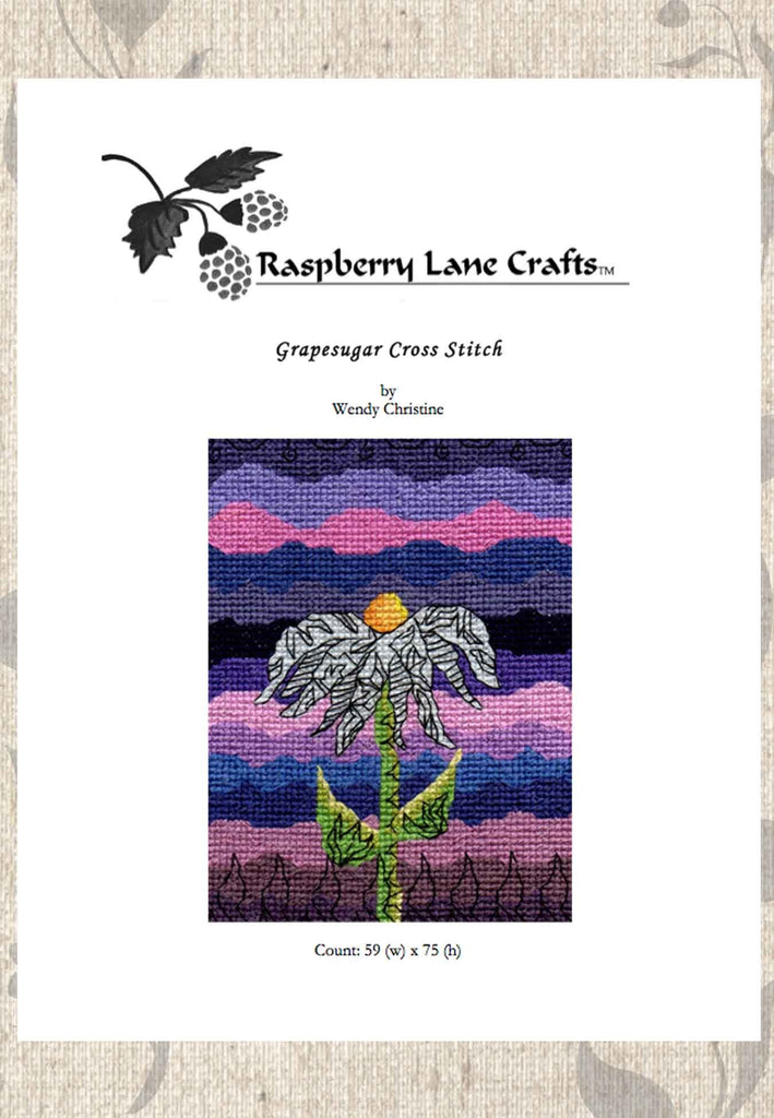 Buy purple flower cross stitch from The Art of Wendy Christine.  Download Pattern