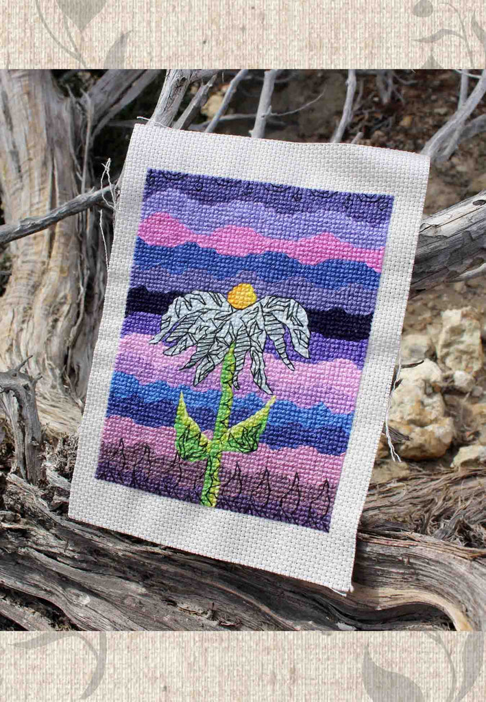 Purple flower cross-stitch pattern for Sale by Wendy Christine at Raspberry Lane Crafts.  Grapesugar by Wendy Christine.