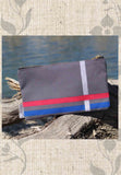 Gray Flag Accessory Pouches are gray zipper bags with red white and blue stripes.  For Sale Buy Purchase Find at Raspberry Lane Crafts.