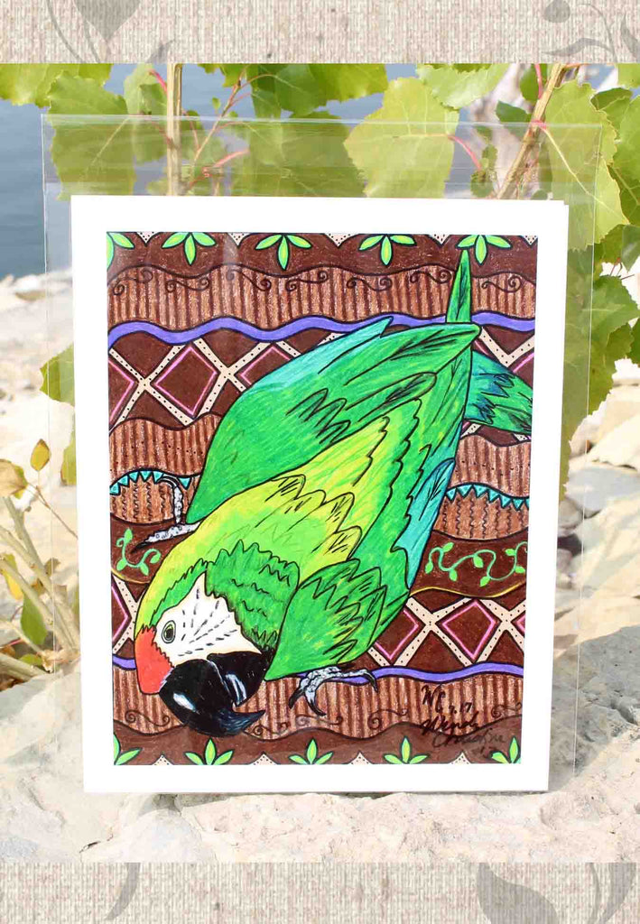 Green Parrot Art Print 8 x 10 inch for Sale at Raspberry Lane Crafts Signed by Artist Wendy Christine