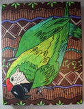 Green Parrot Mounted Art Print for Sale