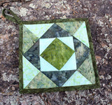 Green Pieced Fabric Potholder Hand-Crafted in US for Sale at Raspberry Lane Crafts