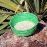 Green mini basket for sale from artisan at Raspberry Lane Crafts