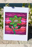 Green Flower for Mom 9 x 9 inch Art Print by Wendy Christine for Sale Southwest Pink and Green Flower