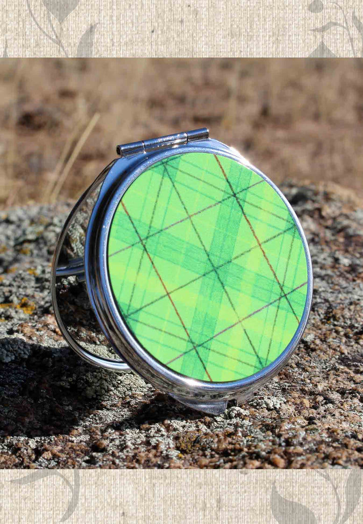 Green Plaid Compact Mirrors for Purse Lockers and Travel for Sale at Raspberry Lane Crafts. Great gifts for teens!
