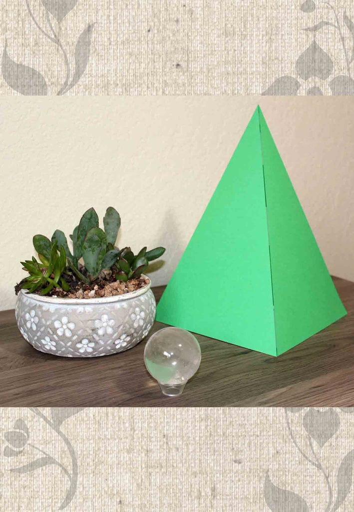 Tropical Green Paper Pyramid Decoration for Sale from Raspberry Lane Crafts.