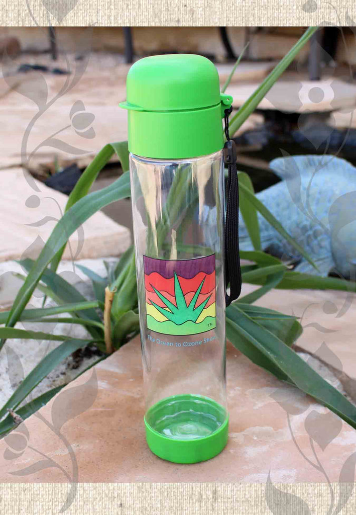 Green water bottles non-BPA for sale Ocean to Ozone Show