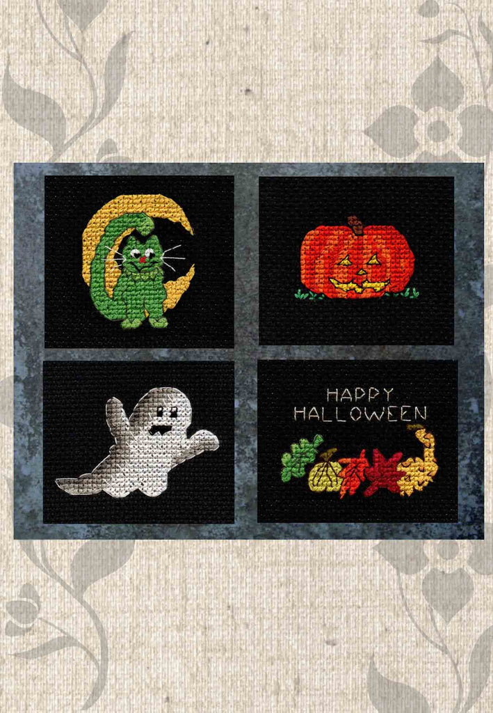 "Halloween Night Collection features four cross-stitch patterns: a green cat with slice of moon; orange jack-o-lantern with yellow eyes; gray and white ghost; and a ""Happy Halloween"" sign with a fall rainbow of leaves and gourds."