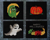 "Buy Halloween Night Collection features four cross-stitch patterns: a green cat with slice of moon; orange jack-o-lantern with yellow eyes; gray and white ghost; and a ""Happy Halloween"" sign with a fall rainbow of leaves and gourds."
