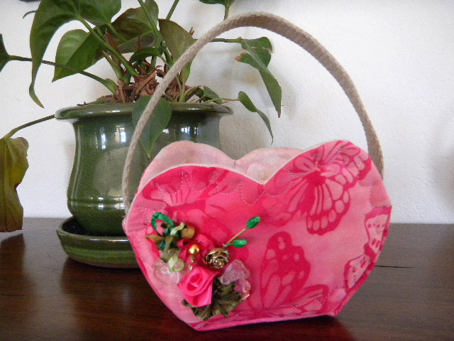 Soft Quilted Heart Basket Sewing Pattern for sale