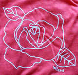 Open Rose Women's T-Shirt in Heather Red
