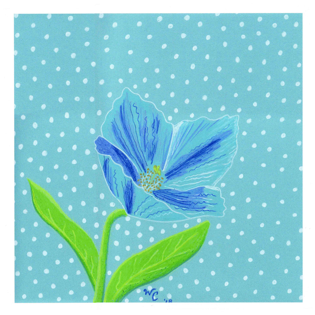 Himalayan Blue Poppy Art Print blue flower with dots by Wendy Christine for sale