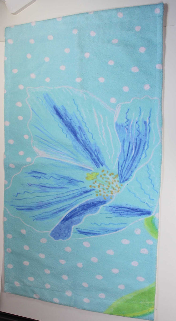 Himalayan Blue Poppy Flower Hand Towel for Sale at Raspberry Lane Crafts