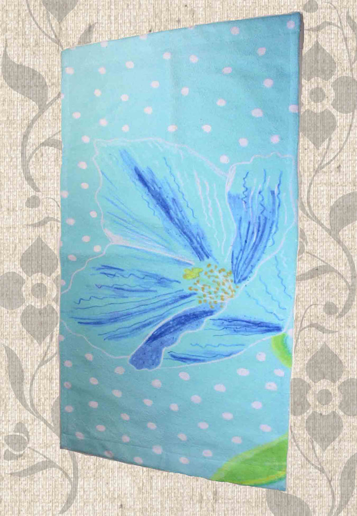 Buy blue flower hand towel for bathroom or kitchen.  Himalayan Blue Poppy Hand Towel by Wendy Christine.  Find Buy Purchase at Raspberry Lane Crafts.
