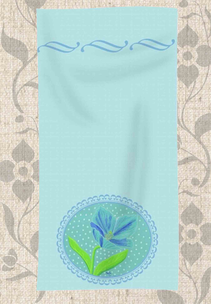 Buy Pastel Aqua Blue Hand Towel with Flower in Himalayan Blue Poppy Lady Blue Hand Towel.  Buy Purchase Find at Raspberry Lane Crafts