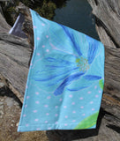 Himalayan Blue Poppy Flower Aqua Hand Towel for Sale from The Art of Wendy Christine