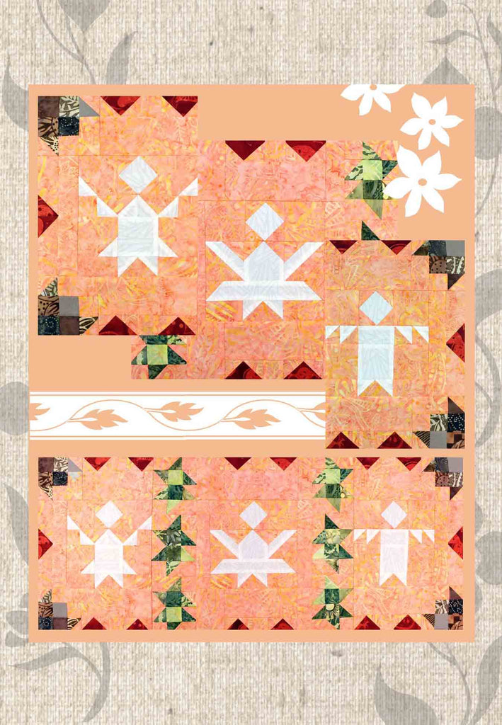 The Holly and the Angels quilt block pattern cover page features the three angel row and closeups of each block.  Christmas Holiday Quilted Row Pattern.  Raspberry Lane Crafts.  Buy Purchase for Sale.