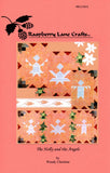 The Holly and the Angels pieced quilt block row pattern cover page features the Raspberry Lane Crafts logo and photo of the row of three angels plus close ups.  Designed by Wendy Christine at www.raspberrylanecrafts.com