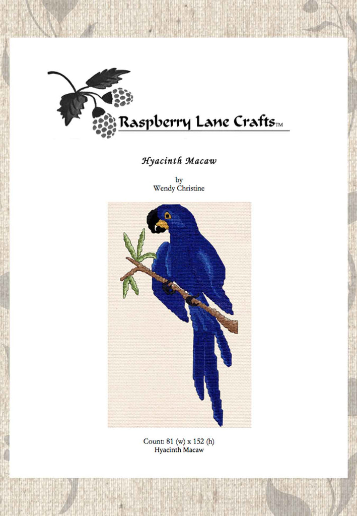 Buy blue tropical bird cross stitch pattern download Hyacinth Macaw by Wendy Christine at Raspberry Lane Crafts