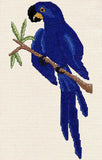 Buy Hyacinth Macaw cross stitch pattern of shades of blue parrot perched on a branch with green leaves by Wendy Christine at Raspberry Lane Crafts www.raspberrylanecrafts.com
