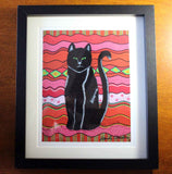 Circus Cat from The Art of Wendy Christine in an 8 x 10 inch black frame at Raspberry Lane Crafts.