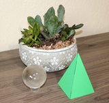 Small Tropical Green Paper Pyramid 4 inch Decoration Pyramid Energy