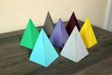Small paper pyramid collection at Raspberry Lane Home green, blue, purple, yellow, dark red, brown, light gray to buy
