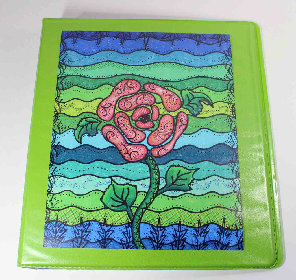 Blue Stone green 3-ring binder from the art of wendy christine 1 inch and holds 250 sheets of loose leaf paper.