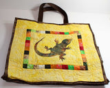 Southwest Shopping Bag Pattern for sale at Raspberry Lane Crafts features a lizard with colored square inset border.