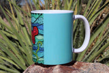Beautiful Southwest Aqua Blue Flower Art Mugs for Sale at Raspberry Lane Crafts