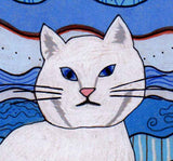 White cat face close-up of Ice Cat art print by Wendy Christine