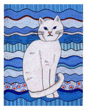Ice Cat Art Print 8 x 10 inches for Sale by Wendy Christine pictures a blue-eyed white cat on blue waves decorated.  For sale The Art of Wendy Christine