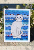 Blue Art Print 8 x 10 inches, white cat, Ice Cat by Wendy Christine.  For sale, find, purchase at Raspberry Lane Crafts