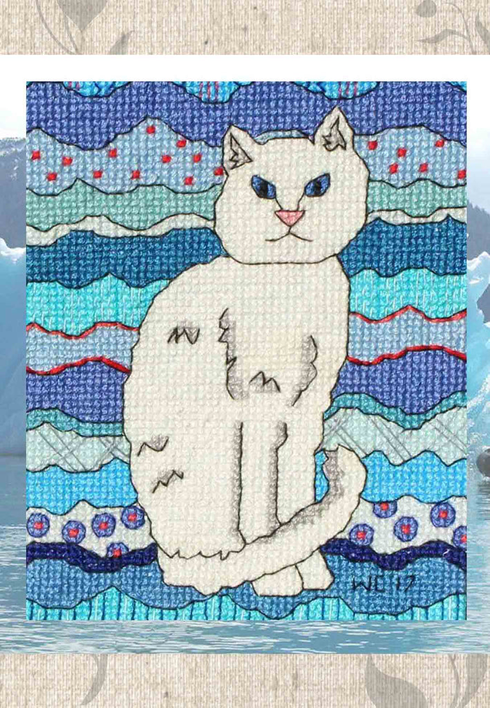 Buy Ice Cat Cross Stitch featuring a white cat on aqua and blue.  From The Art of Wendy Christine.  Sold at Raspberry Lane Crafts