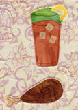 Iced tea and chicken leg sewn on BBQ placemat pattern in Dinner On Us Placemats at Raspberry Lane Crafts.  Buy Purchase for Sale. www.raspberrylanecrafts.com