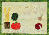 Italian Food Place mat features uncooked spaghetti in a jar, tomato, green pepper, mozzarella cheese wheel and garlic.  Design by Wendy Christine at Raspberry Lane Crafts.  Quilted place mat pattern.