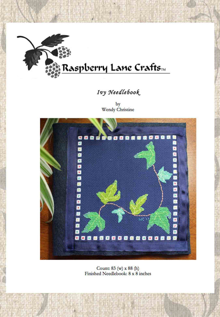 Buy ivy leaves cross stitch pattern needle book project at Raspberry Lane Crafts