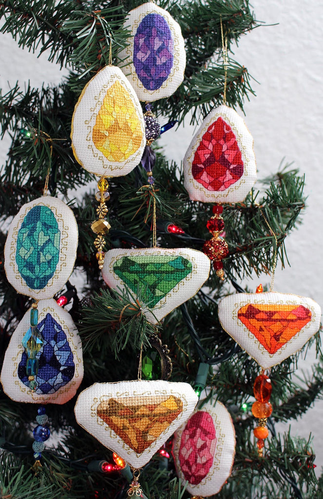 All Nine Jewel Ornaments cross stitch completed pattern featured in Jewel Ornaments Cross Stitch Pattern from Raspberry Lane Crafts. Buy Purchase for Sale