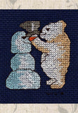 Buy Jolly Bear with Snowman Cross Stitch Pattern at Raspberry Lane Crafts
