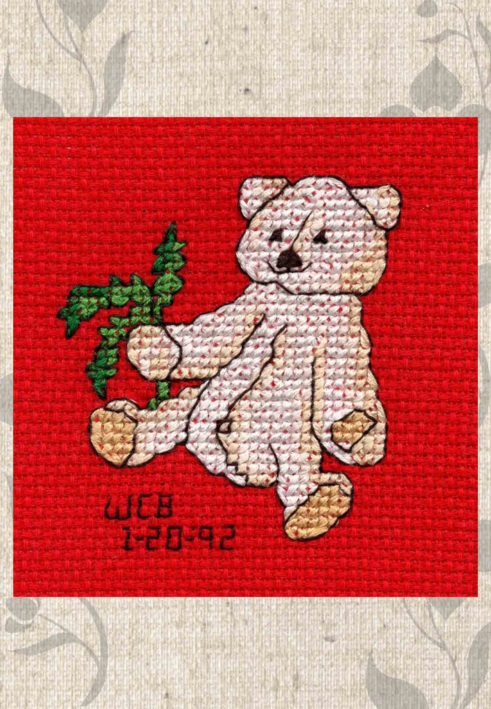 Buy Teddy Bear Cross Stitch Pattern at Raspberry Lane Crafts Four Jolly Bears Cross Stitch Pattern Jolly Bear with Fir Branch by Wendy Christine