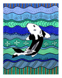 Kumonryu Koi is a black and white art print on blue and turquoise wavy background by artist Wendy Christine. Copyright