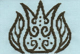 Tulip with leaves outline in flourishes cross stitch pattern completed, brown gray on pastel blue featured in Lace in Blue pattern at Raspberry Lane Crafts. Designed by Wendy Christine.