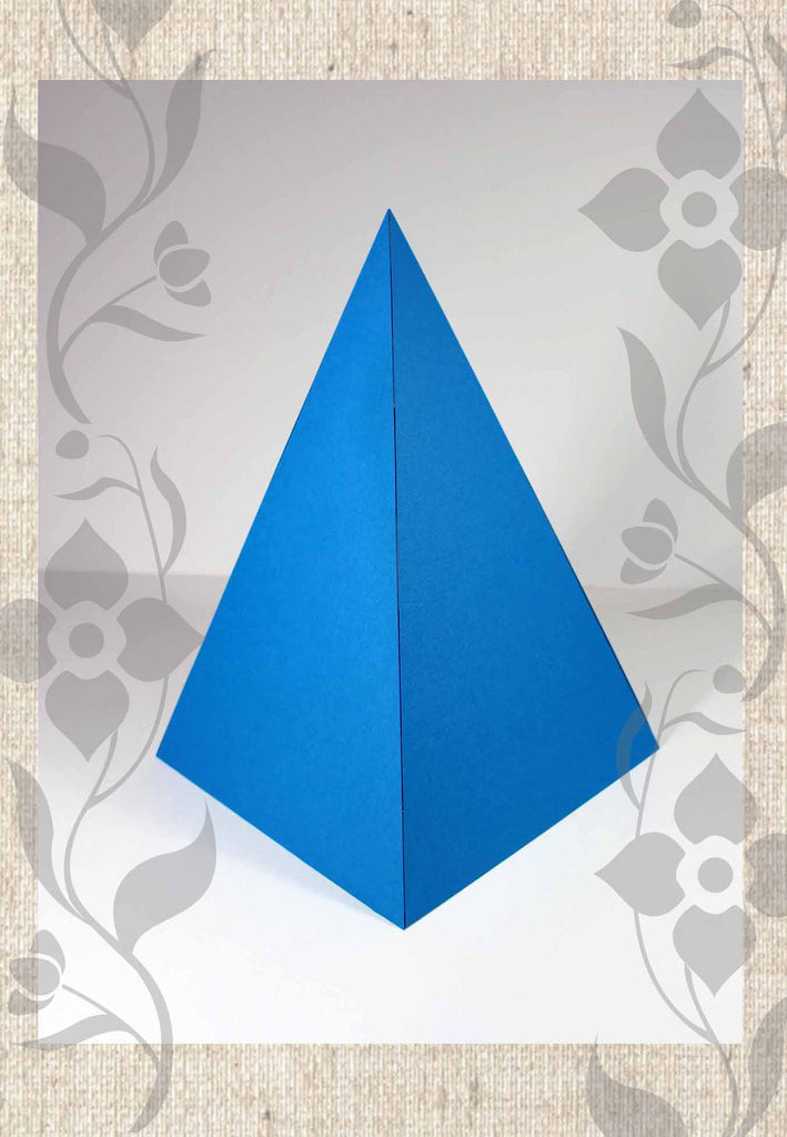 Large lagoon blue paper pyramid foldable decoration buy at Raspberry Lane Crafts and Sacred Sound Healing Pueblo